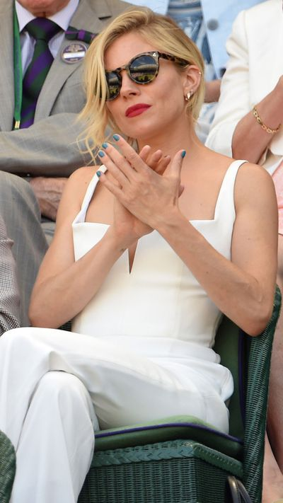 <p>Sienna Miller nailed spectator style at Wimbledon last week, putting everyone else's tennis whites to shame in a Galvan jumpsuit and tortoiseshell shades. However, it was the addition of a blue nail varnish that really lifted the ensemble, with the ocean blue of her fingertips contrasting perfectly with a bold red lip. We've rounded up eight of the best statement blues to shop now.</p>