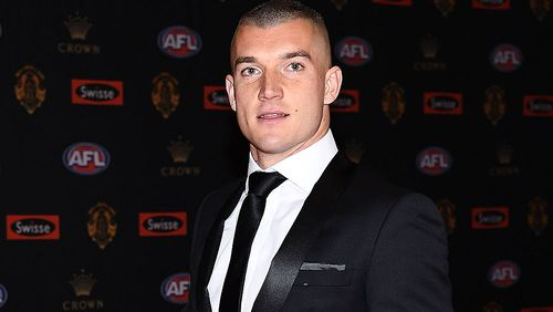 Dustin Martin arrives at the Brownlow medal ceremony. (AAP)