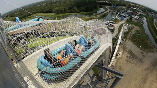 "The water slide called ""Verruckt"" at Schlitterbahn Waterpark in Kansas City"