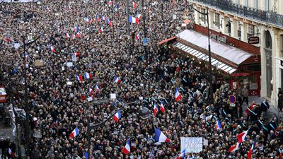 A sea of humanity flowed through Paris' iconic streets to mourn the victims of the three days of terror that began with the slaughter of 12 people at the offices of satirical magazine Charlie Hebdo. (Getty Images)