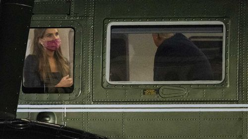 Hope Hicks aboard Marine One with Donald Trump earlier this month.
