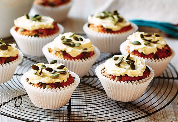 Carrot, coconut and pepita muffins with lime cream cheese icing