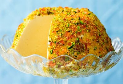 Burnt brown sugar ice cream with pistachio praline