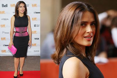Salma Hayek pretty in pink at the premiere of <i>The Prophet</i>.