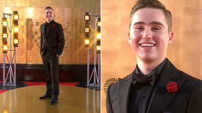 The Voice second series winner Harrison Craig looked freshed face with his buttonhole matching the red carpet.