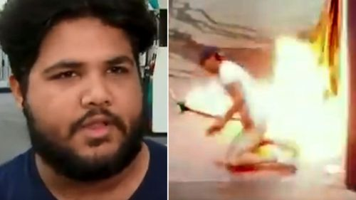 The petrol station attendant (left) and CCTV footage of the man lighting one of the pumps on fire (right).