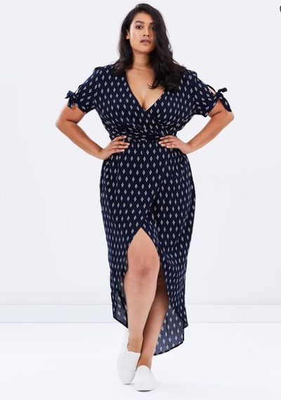 "<a href=""http://www.theiconic.com.au/novella-mock-wrap-dress-468317.html"" target=""_blank"">Novella Mock Wrap Dress By Atmos &amp; Here Curvy, $69.95.&nbsp;</a>"