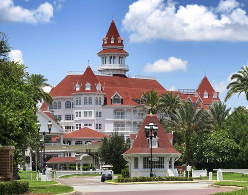 A view of Disney's Grand Floridian Resort main entrance, at Walt Disney World in Lake Buena Vista, Fla., Monday, June 22, 2020. The Villas at the Grand Floridian opened Monday as a part of select resorts in the first group to reopen since being shutdown by the coronavirus pandemic in March.  (Joe Burbank/Orlando Sentinel via AP)