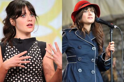 She's, like, explaining something <i>really</i> deep while wearing a high-necked, spotted number. She also sings, wears a stand-out red hat and a Paddington Bear coat. Welcome to the hipster crew, Zooey.