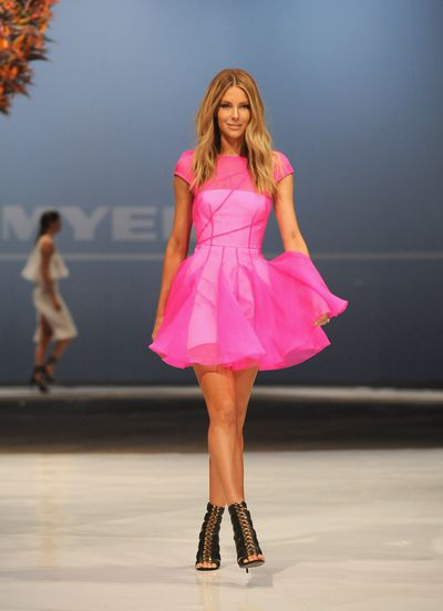 Jennifer Hawkins in Alex Perry during the Myer Spring 2015 launch in Sydney, August, 2015