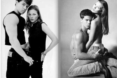 """The most iconic of the shots is one of Kate straddling Marky Mark, aka Mark Walhberg. Great chemistry? Well, it's all acting, people. Kate has admitted that she had a """"breakdown"""" while posing naked, with designer Marc Jacobs later revealed the pair hated each other<br/>"""