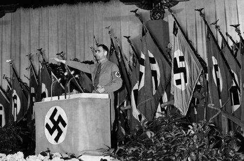 Rudolf Hess at a Nazi rally in the 1930s.