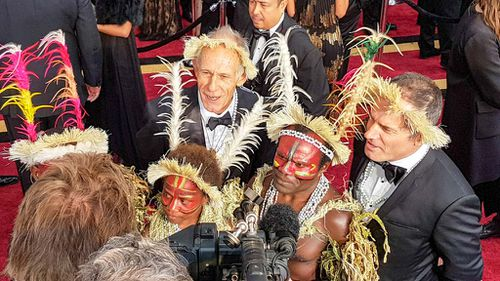 The crew and cast of Best Foreign Language film nominee and Australian film Tanna. (9NEWS/Ehsan Knopf)