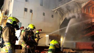 Ship fire at Port Kembla being fought by 100 firefighters