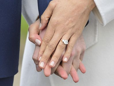 Meghan Markle wears her engagement ring as she poses with Britain's Prince Harry for the media in the grounds of Kensington Palace in London, Monday Nov. 27, 2017.