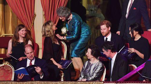 The Duke of Cambridge, Lady Louise Windsor, the Princess Royal, Prince Harry and Meghan Markle. (PA)