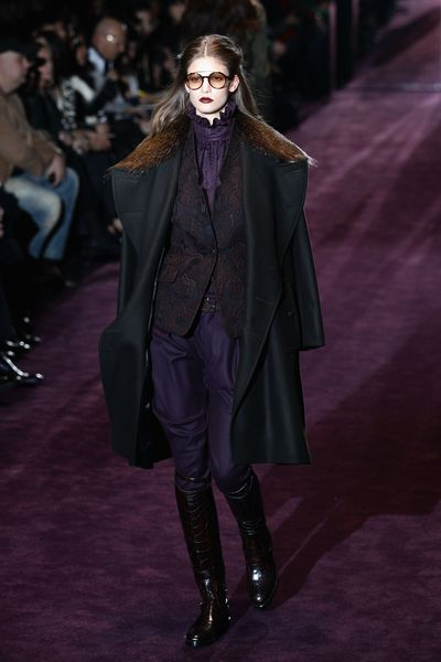 Abbey Lee Kershaw walks the runway at the Gucci Autumn/Winter 2012/2013 fashion show as part of Milan Womenswear Fashion Week on February 22, 2012.