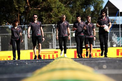 Kevin Magnussen (DEN) Haas F1 Team walks the circuit with the team. (AAP)