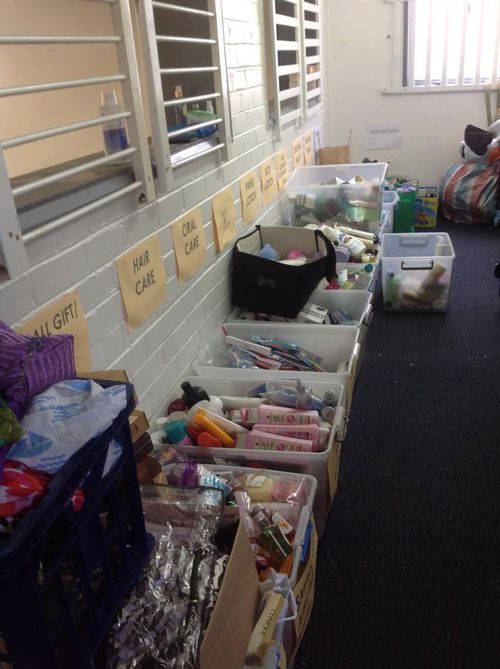 Families and businesses donate beauty products which are then sorted by volunteers.