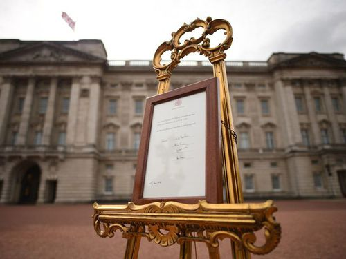The notice of the royal baby's birth. (PA/AAP)