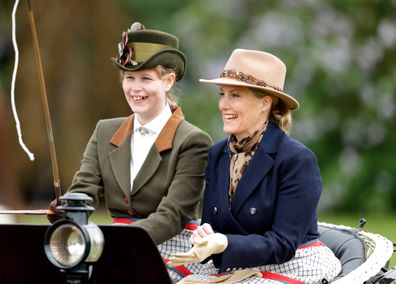 Lady Louise Windsor and Sophie, Countess of Wessex carriage driving in the Royal Windsor Horse Show in Home Park on May 13, 2018