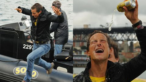 Bear Grylls jumps from a moving speedboat in Sydney Harbour (and pours soda on his head)