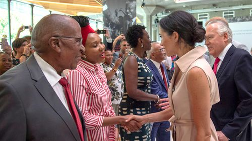 The Duke and Duchess of Sussex today met friends and family of the anti-apartheid campaigner who died in 2013, including his granddaughter Zamaswazi Dlamini-Mandela. Image: AP