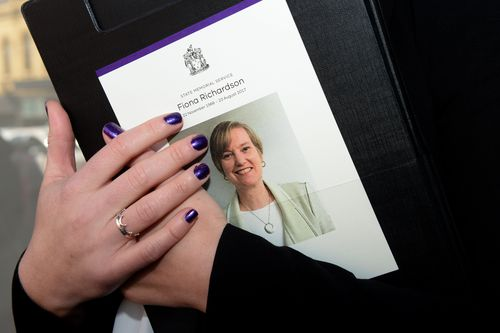 The order of service is seen at the State Memorial Service for Fiona Richardson.