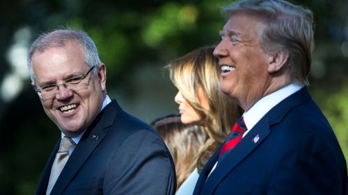 Australian Prime Minister Scott Morrison speaks during an official visit ceremony at the South Lawn of the White House September 20, 2019 in Washington, DC.