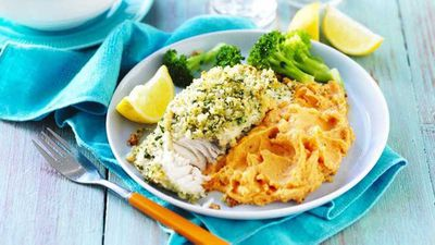 "Recipe:&nbsp;<a href=""http://kitchen.nine.com.au/2017/05/26/15/04/lemon-and-herb-fish-with-sweet-potato-mash"" target=""_top"">Lemon and herb fish with sweet potato mash</a>"