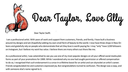 Yesterday Ms Burguieres posted an open letter to Swift on her Facebook page. (Ally Burguieres)