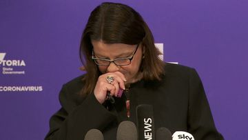 Victoria's Health Minister Jenny Mikakos became emotional during her media conference as the state deals with outbreaks inside aged care homes.