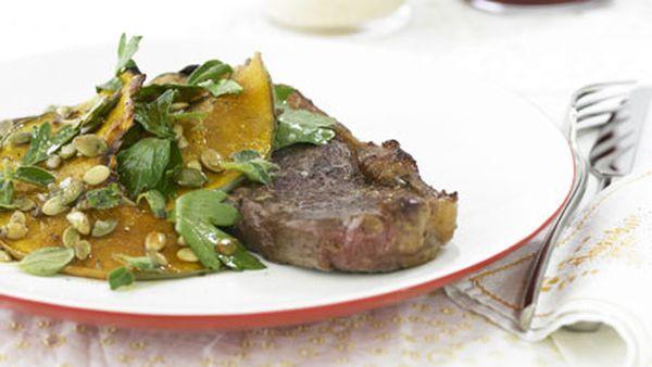 Sirloin steak with roasted pumpkin