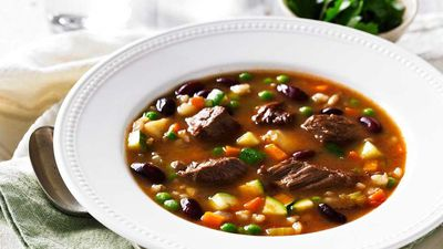 """<a href=""""http://kitchen.nine.com.au/2017/03/06/11/39/beef-barley-and-vegetable-soup"""" target=""""_top"""">Beef, barley and vegetable soup</a><br /> <br /> <a href=""""http://kitchen.nine.com.au/2016/06/06/22/13/nourishing-bone-broth-recipes"""" target=""""_top"""">More nourishing soups and broths</a>"""
