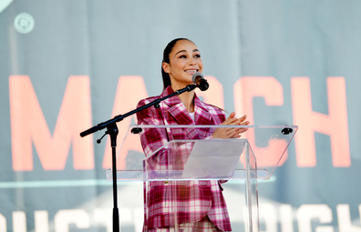 Cara Santana speaks during Women's March Action: March 4 Reproductive Rights at Pershing Square on October 02, 2021 in Los Angeles, California.