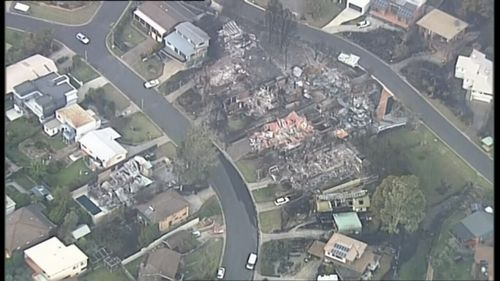 Aerial images show the indiscriminate nature of the fire, destroying some homes but leaving others standing next door. Pictur: 9News