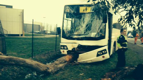 The damaged bus after the incident. (Supplied)