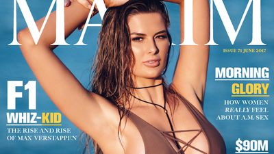 Cheryl Maitland covers Maxim in a plunging swimsuit, jokes about that viral boob video