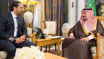 Saudi King Salman Bin Abdelaziz Al Saud (right) receives former Lebanese Prime Minister Saad Hariri in Riyadh on Monday. (AP)