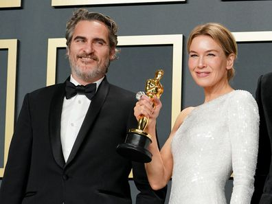 Joaquin Phoenix, winner of the Actor in a Leading Role award for Joker, and Renée Zellweger, winner of the Actress in a Leading Role award for Judy, at the 2020 Oscars.