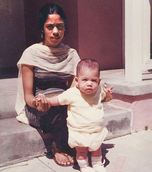 Kamala Harris as a baby with her mother.