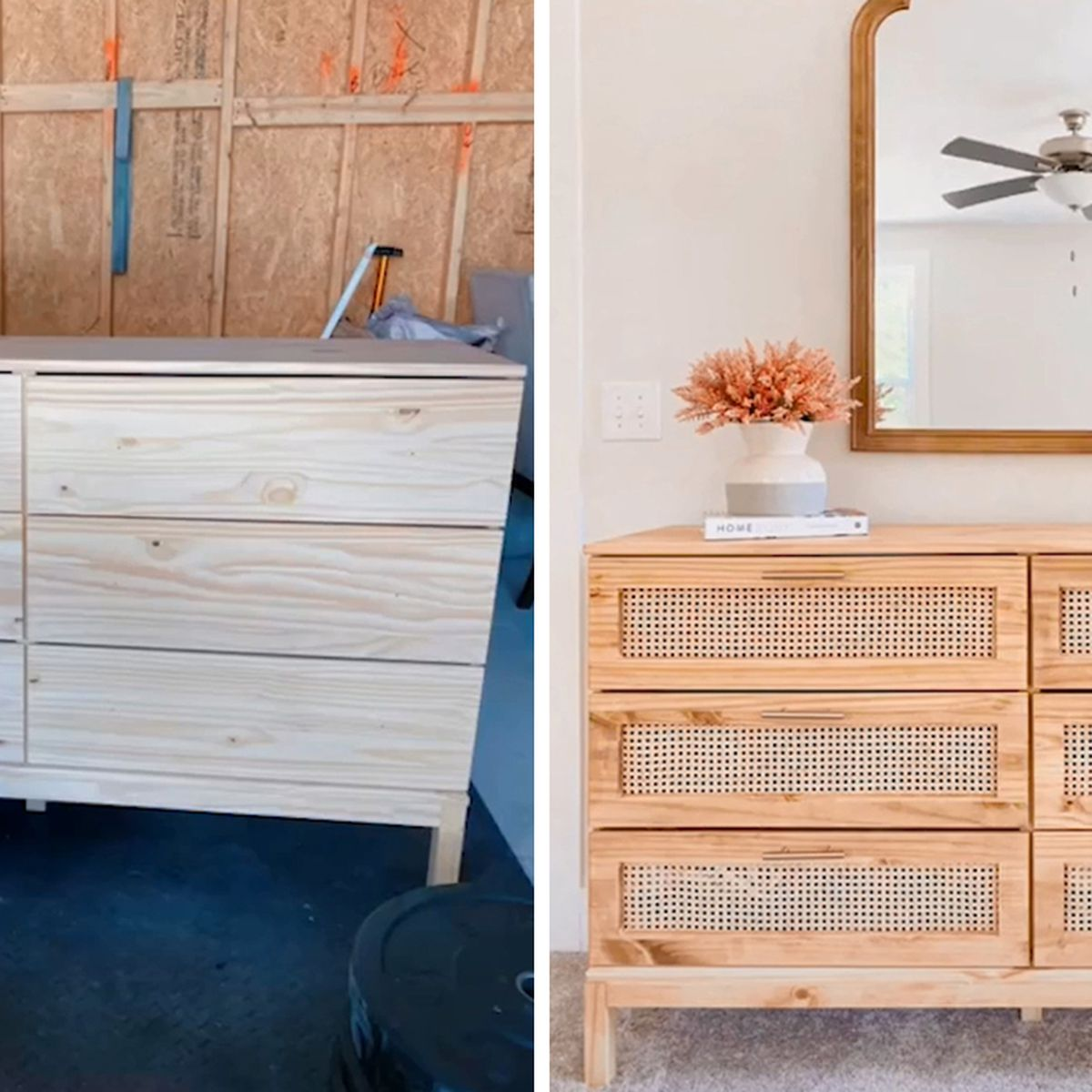 Tiktok Hack Shows How To Turn Ikea Chest Of Drawers Into Trendy Rattan Piece Of Furniture