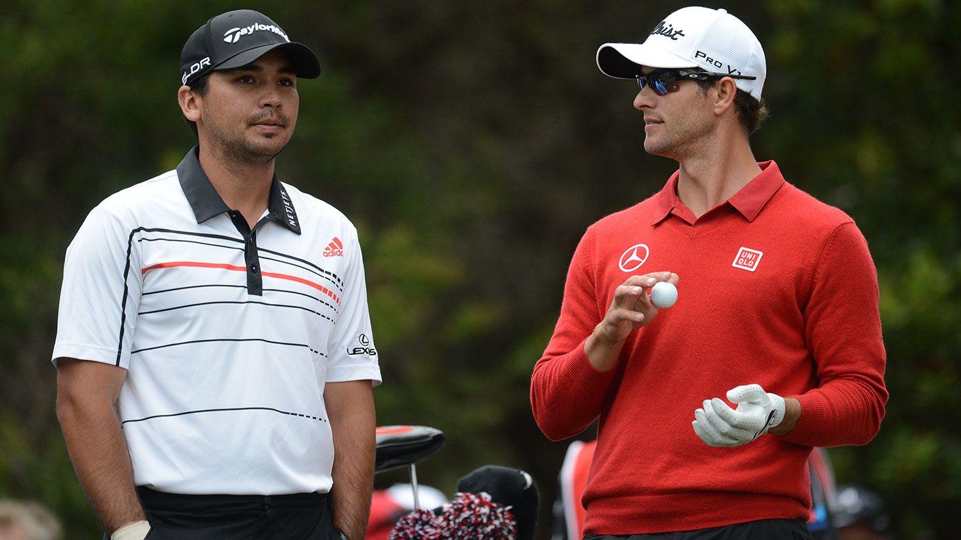Australian golf stars Jason Day (left) and Adam Scott