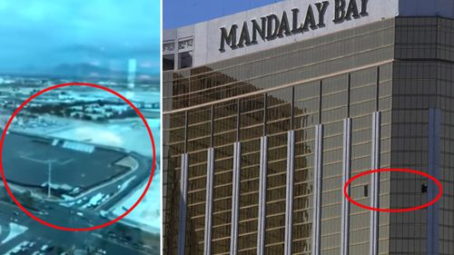 The view from the sniper's nest (left), and the two windows Stephen Paddock punched out with a hammer (right).