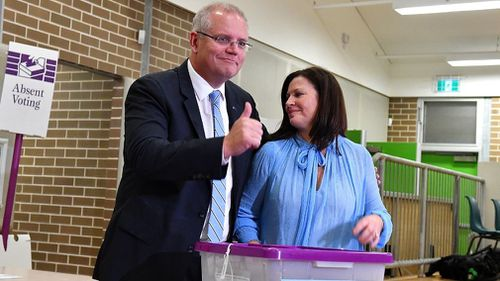 190518 Federal election 2019 Scott Morrison casts vote Sydney Sutherland Shire Politics news Australia