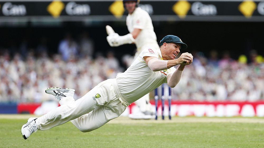 Ashes 2017: Australia's David Warner takes incredible catch to dismiss England batsman Jake Ball