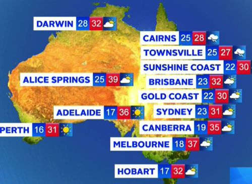 Temperatures today around the country.