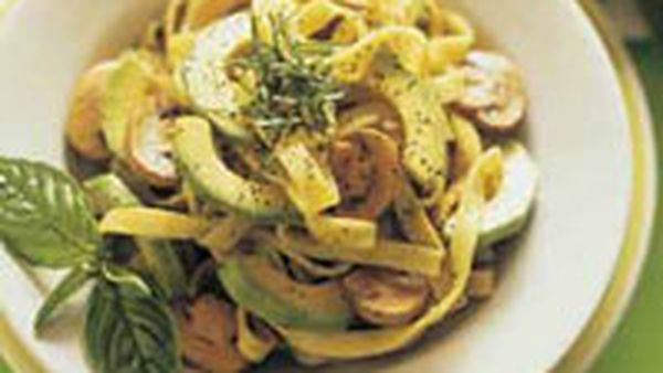 Avocado and mushroom fettuccine