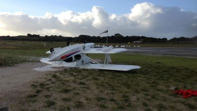 Strong winds flipped an ultra light plane onto its roof on Rottnest Island. (Rottnest Police)