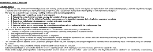 An excerpt from the talking points emailed out by mistake.